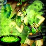 ведьма над котлом